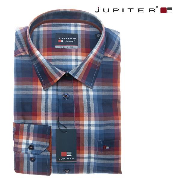 Jupiter 1/1 Hemd mit großen blau-roten Karos