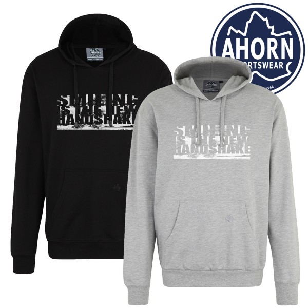 "Ahorn Kapuzen Sweatshirt Corona ""SMILING IS THE NEW HANDSHAKE"""