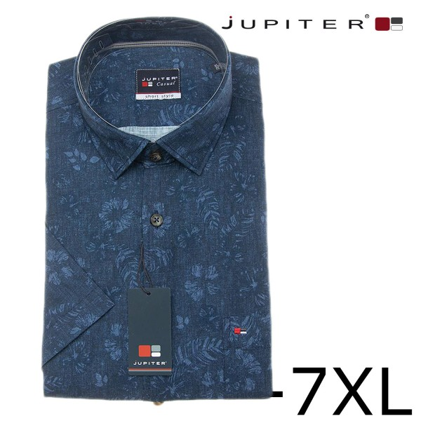 Jupiter elegantes Sommerhemd mit Druck in dunkelblau