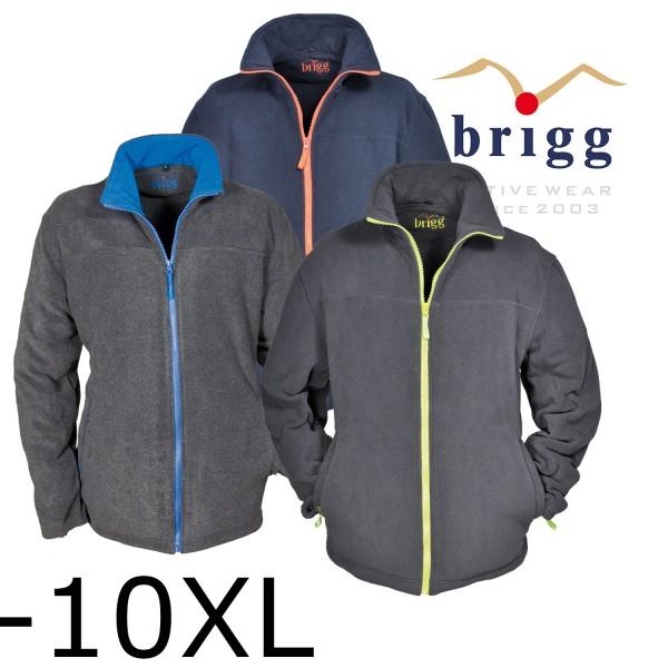 Brigg Basic Fleecejacke mit Kontrast Reißverschluss