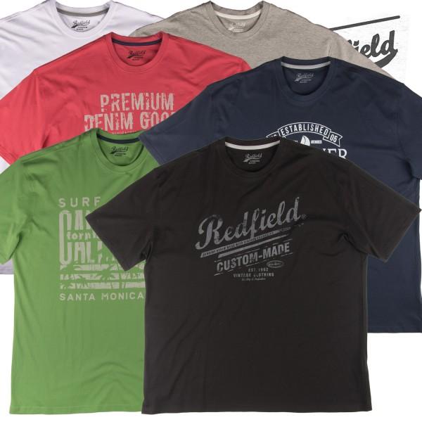 Redfield Basic Druck T- Shirt in vielen Farben