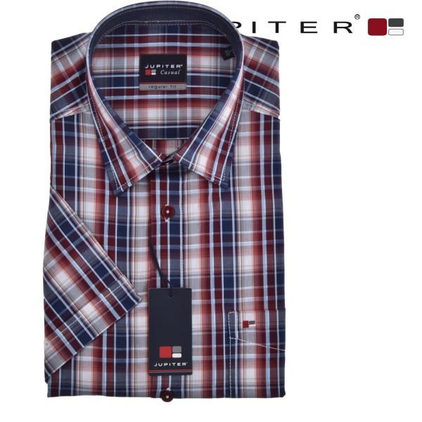Jupiter Kurzarm Hemd mit  rubin- navy Karos