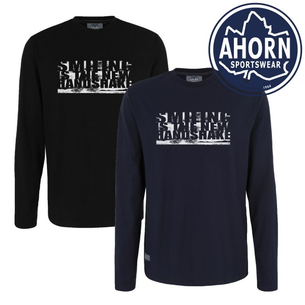 "Ahorn Logshirt Corona ""SMILING IS THE NEW HANDSHAKE"""
