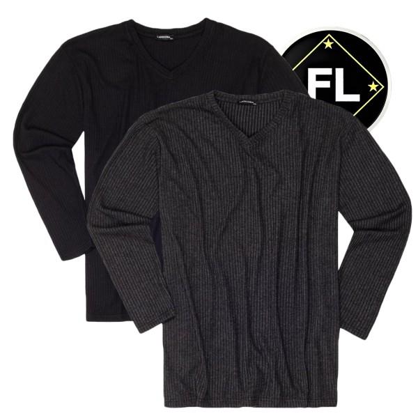 Lavecchia Feinstrick Pullover mit Ripp-Struktur