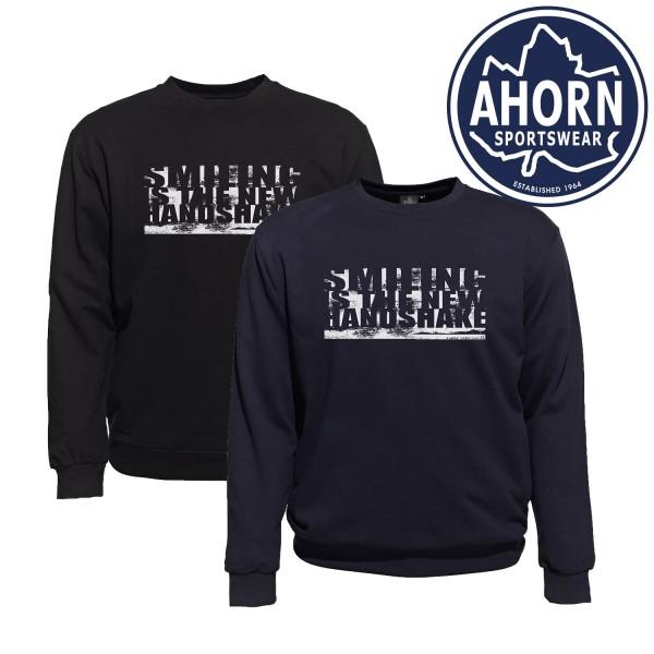 "Ahorn Sweatshirt Corona ""SMILING IS THE NEW HANDSHAKE"""