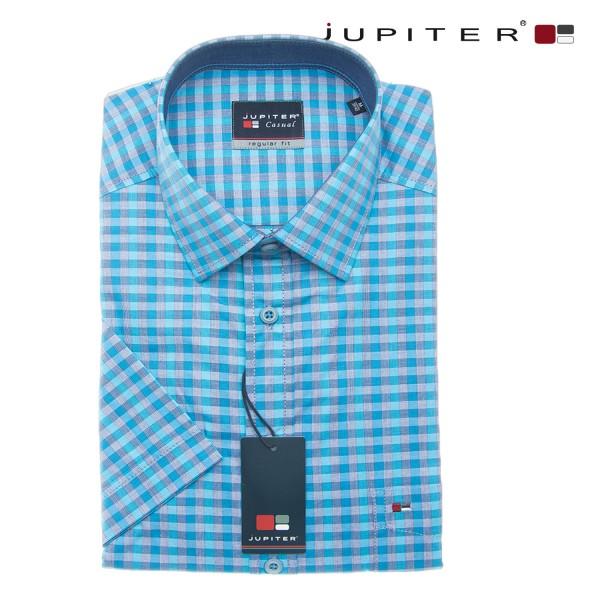 Jupiter halbarm Sommerhemd mit kleinen blauen Karos