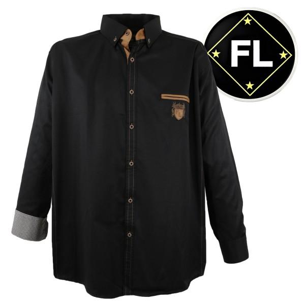 Lavecchia  schwarzes  langarm Hemd mit Patches