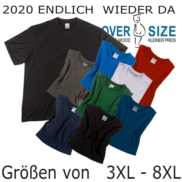 over-size Basic T-Shirt bis 8XL